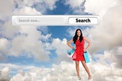 Составное изображение женщины стоя с хозяйственными сумками Стоковая Фотография