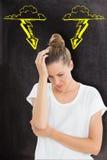 Составное изображение женщины с головной болью Стоковые Изображения RF
