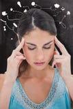 Составное изображение женщины с головной болью Стоковые Фотографии RF