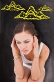 Составное изображение женщины с головной болью Стоковые Фото