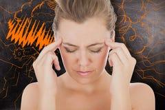 Составное изображение женщины с головной болью Стоковое Изображение RF
