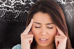 Составное изображение женщины с головной болью Стоковое Фото