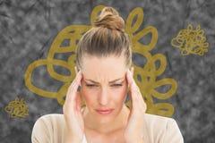 Составное изображение женщины с головной болью Стоковая Фотография RF