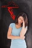 Составное изображение женщины с головной болью Стоковые Изображения