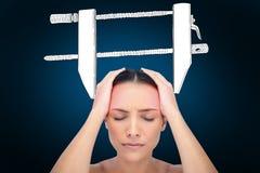 Составное изображение женщины с головной болью Стоковое Изображение