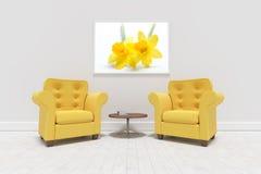 Составное изображение желтых кресел против пустой картинной рамки Стоковые Изображения