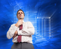 Составное изображение заботливой ручки удерживания бизнесмена к подбородку Стоковые Изображения