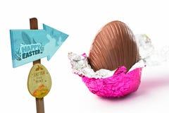 Составное изображение знака охоты пасхального яйца Стоковые Изображения