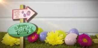 Составное изображение знака охоты пасхального яйца Стоковая Фотография