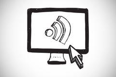 Составное изображение значка wifi на экране компьютера Стоковая Фотография