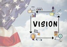 Составное изображение диаграммы зрения с американским флагом Стоковое Изображение RF
