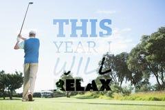 Составное изображение игрока гольфа принимая съемку Стоковые Фото