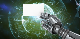 Составное изображение изображения машинной графики робототехнического плаката удерживания руки Стоковые Изображения RF