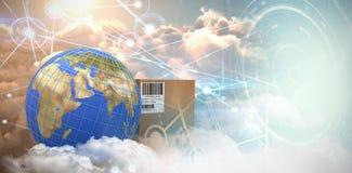 Составное изображение изображения 3d голубых линий на земле планеты коробкой бесплатная иллюстрация