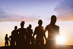 Составное изображение идущих силуэтов Стоковая Фотография RF