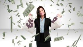 Составное изображение коммерсантки держа сумки денег акции видеоматериалы