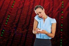 Составное изображение коммерсантки имея телефонный звонок и принимая примечания Стоковые Фотографии RF