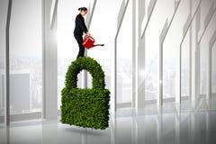 Составное изображение коммерсантки используя красную моча чонсервную банку бесплатная иллюстрация