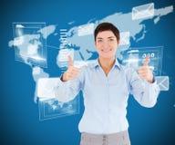 Составное изображение коммерсантки с большими пальцами руки вверх Стоковое Изображение