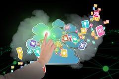 Составное изображение коммерсантки указывая 3d Стоковые Изображения