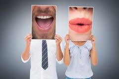 Составное изображение конца вверх говоря человека Стоковое Изображение