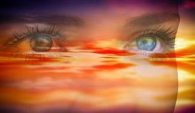 Составное изображение конца вверх женских голубых глазов Стоковое Изображение RF