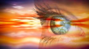 Составное изображение конца вверх женского голубого глаза Стоковая Фотография RF