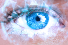 Составное изображение конца вверх женского голубого глаза Стоковые Изображения