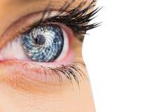 Составное изображение конца вверх женского голубого глаза Стоковые Фотографии RF