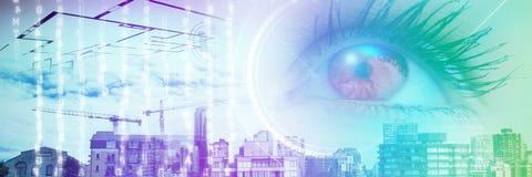 Составное изображение конца вверх женского голубого глаза Стоковое Изображение