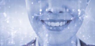 Составное изображение конца вверх усмехаясь коммерсантки Стоковое Фото