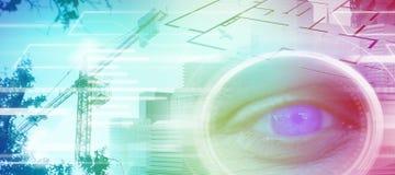 Составное изображение конца вверх человеческого глаза Стоковые Фото