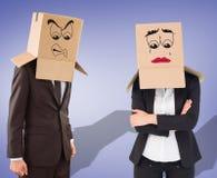 Составное изображение коробки коммерсантки поднимаясь с головы Стоковая Фотография RF