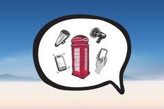 Составное изображение коробки телефона в doodle пузыря речи Стоковые Изображения RF
