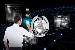 Составное изображение красивого бизнесмена указывая на космос 3d экземпляра Стоковое Фото