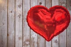 Составное изображение красного воздушного шара 3d сердца Стоковые Фотографии RF