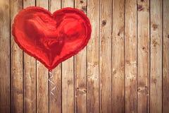 Составное изображение красного воздушного шара 3d сердца Стоковые Изображения