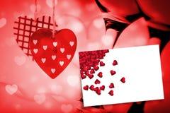 Составное изображение красных сердец влюбленности Стоковые Фотографии RF
