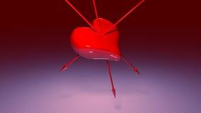 Составное изображение красных сердца и стрелок влюбленности Стоковые Фотографии RF