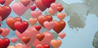 Составное изображение круга нескольких сердце Стоковое Фото
