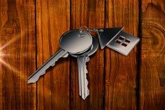 Составное изображение ключа металла с кольцом Стоковые Фотографии RF