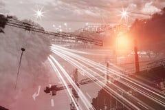 Составное изображение места крана и строительной конструкции Стоковые Фотографии RF