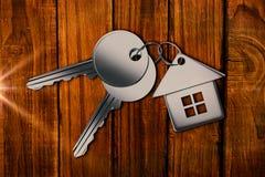 Составное изображение металлического ключа с кольцом Стоковое Изображение