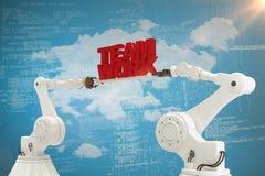 Составное изображение механически рук держа команду работает сообщение на голубой предпосылке Стоковые Фото