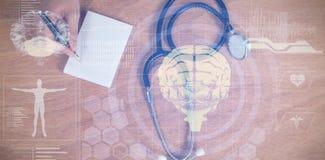 Составное изображение медицинского интерфейса биологии в сини Стоковые Изображения