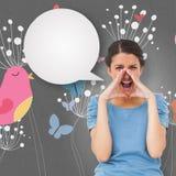 Составное изображение милого брюнет крича с пузырем речи Стоковая Фотография