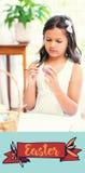 Составное изображение милой девушки крася пасхальные яйца Стоковые Изображения RF