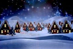 Составное изображение милой деревни рождества Стоковая Фотография RF
