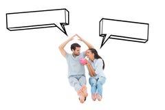 Составное изображение милых пар рассматривая ипотеку Стоковые Изображения