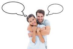 Составное изображение милых пар усмехаясь на камере Стоковые Фото